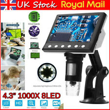 "4.3""1000X HD LCD Monitor Electronic Digital Video Microscope 8LED Magnifier UK"