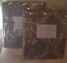 Pottery Barn Avery Print Cotton Linen Drapes 50X84L  Set of Two (2) Grey