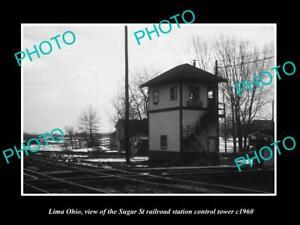OLD 8x6 HISTORIC PHOTO OF LIMA OHIO THE SUGAR St RAILROAD SIGNAL TOWER c1960