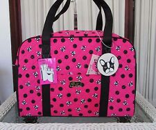 Luv Betsey Johnson Dog Pug Weekender Fuchsia Quilted Duffle Travel Bag NWT
