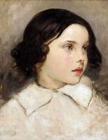 Oil painting thomas couture - etude de jeune fille young girl  portrait canvas