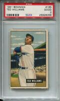 1951 Topps Baseball #165 Ted Williams Card Graded PSA Good 2 Boston Red Sox