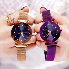 Bracelet Watches For Women Crystal Analog Luxury Starry Sky Stainless Steel Mesh