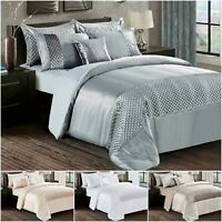 Diamante Band Silk Duvet Cover + Pillowcase Sparkle Velvet Bedding Set UK Sizes