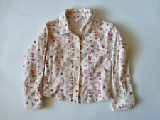 Girls Corduroy Shirt - White With Pink Flowers Age 5