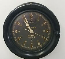 WW II Seth Thomas US Navy Ship's Clock SN: 58571-E w/ Key **WORKS GREAT**