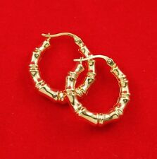 NEW 9ct Yellow Gold Hoop Earrings Hallmarked Bamboo Pattern 375 Made in Italy 9K