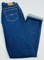 VTG Tommy Hilfiger Women's 10 Jeans Mom High Rise Waist Dark Wash Flag Box Logo
