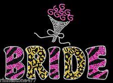 Bride Rhinestone Iron On Transfer with Roses Wedding Party Bridal Brides