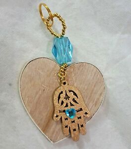 gift bead Decoration hanging Hamsa gold Light blue turquoise wood heart love