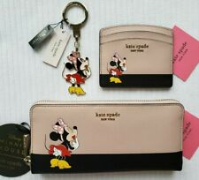 KATE SPADE MINNIE MOUSE CONTINENTAL WALLET,CARDHOLDER CASE,BAG CHARM KEYRING:NWT