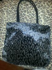 WOMENS FAUX FURRY LEOPARD ANIMAL PRINT PURSE