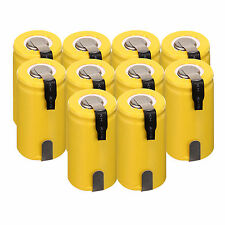 10pcs Sub C SC 1.2V 1300mAh Ni-Cd NiCd Rechargeable Batteries With Tap,Yellow