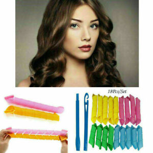 New 18Pcs Set Long Hair Curlers Curl Leverage Rollers Spiral Tool 25cm + 15cm UK