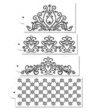 4 Piece Cake decorating Airbrush Icing Frosting Fondant Fancy Flower Stencils