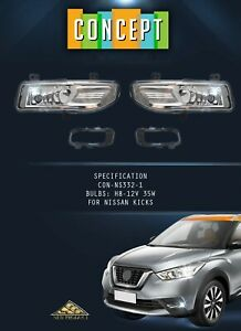 For 2017-2019 Nissan Kicks Fog Lights Lamp with Assembly Set & Bracket L&R Side