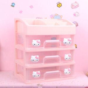 Girls Pink Color Hello Kitty Three Drawers Storage Box Cosmetic Storage Box Shel