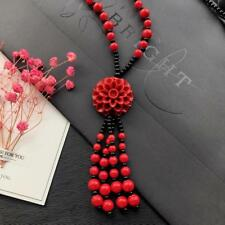 """Red Cinnabar Flower Lucky Necklace Black & Red 20"""" Long Women  Fashion Jewellery"""