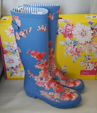 Joules Welly Print Blue Floral Wellingtons Wellies Adjustable Festival Box Sz 3