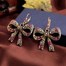 Boucles d`Oreilles Dormeuse Gros Noeud Papillon Multicolore Rose Vintage XX 8