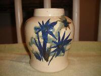 Vintage Whiskey Creek Pottery Vase Signed S Kammerer 1980 Floral Blue Pattern