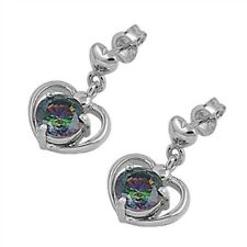 Silver Earrings with Cubic Zirconia Rainbow Topaz CZ Face height 18 mm new