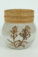 """Small Clay Stoneware Handmade Art Pottery Vase w/ Floral Design - 4.125"""" Tall"""