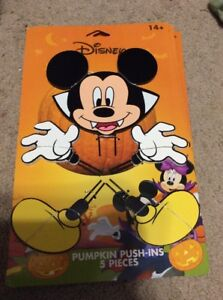 Halloween Disney Mickey Mouse Wood Pumpkin Push In 5 Piece NWT