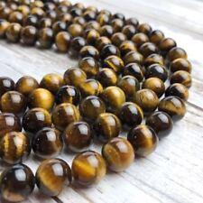 Yellow Tiger Eye Smooth Round Gemstone Loose Beads for Jewelry Making