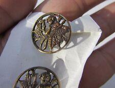 Buttons Antique Victorian Cherub Fairy Butterfly Scene Reticulated Pierced Brass