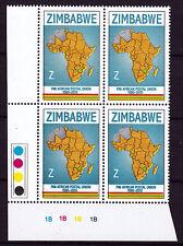 Zimbabwe 2010 PAPU (Postal Union) Cylinder Blocks 1B, MNH (sheet corner)