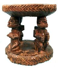 Art Africain Arts Premiers Ancien Tabouret à Cariatides Yoruba Yorouba - 21 Cms