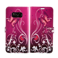 Lastest Leather Wallet Flip Book Protect Case Cover 4 Samsung Galaxy S7 Edge S4 Mini Purple Shade - Flower Butterfly Butterflies Plum