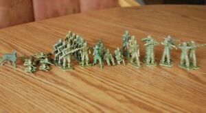 Bag 3 are 28 Vintage plastic toy soldiers army men and a dog mostly Payton Fig.