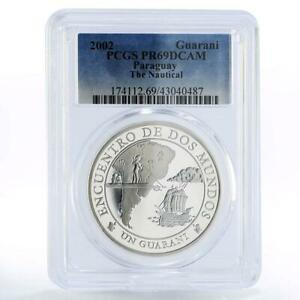 Paraguay 1 guarani Encounter of the Two Worlds Ship PR69 PCGS silver coin 2002