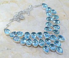 """YouGORGEOUS NEW GENUINE HUGE BLUE TOPAZ STATEMENT 925 SILVER NECKLACE 191/2"""" 80G"""