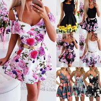 Womens Floral Print Sleeveless High Waist Swing Dress A-Line Mini Short Dress