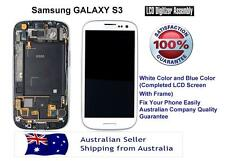 NEW Samsung Galaxy S3 i9300 White Blue LCD + Touch Screen Digitizer on Frame