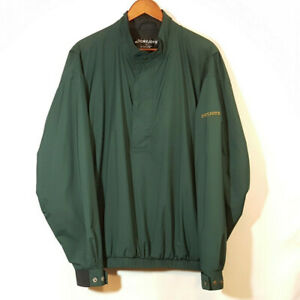 FootJoy Dryjoy Windbreaker Pullover Jacket Sz L 1/2 Zip Mock Neck Forest Green