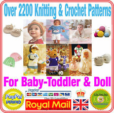 Crochet & knitting pattern on 2 Discs over 2500 for Baby,Toddler,Toy,Doll,Man ++