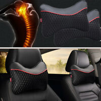 Pair Leather Weaving Car headrest neck pillow Black& red Ice silk cushion pad