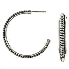 Silver Hoop Earrings Twist Wire Post Style Navajo Made By Tahe