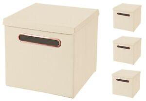 4x Luxus Rosegold Griff Faltbox in Creme 32,5 x 32,5 x 32,5 cm Aufbewahrungsbox