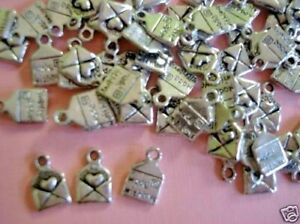 20 MADE WITH LOVE Envelop Design Silver Plated Charm/Beading/DIY Craft Tag K48