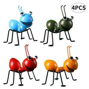 4PCS Garden Lawn Decor Garden Art Metal Sculpture Ant Ornament Cute Insect Art