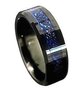 Mens Black Tungsten Carbide Ring - Black Celtic Dragon Inlay On Blue