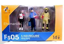 "1.5"" Tiny City HK Mini Figure Scale 1/43 Fs05 Firemen & Hello Kitty Girl 3pcs"