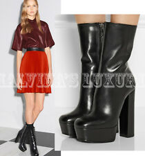 $1,195 GUCCI BOOTS CLAUDIE ANKLE BLACK LEATHER CHUNKY PLATFORM HEEL IT 41 11