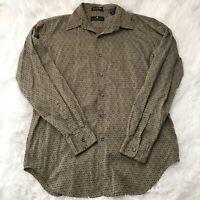 Saks Fifth Avenue Mens Size Medium Long Sleeve Button Down Patterned Shirt EUC