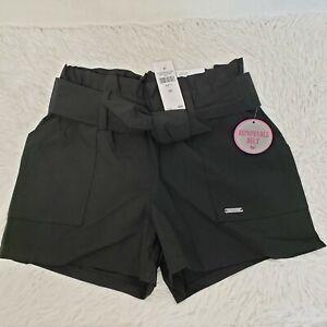 Justice Black Paper Bag Waist Shorts W/Removable Belt Girls Sz 7 NEW